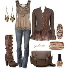 Jacket, top and a short or riding boot.