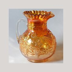 Dugan Floral Grape Carnival Glass Pitcher Marigold Antique