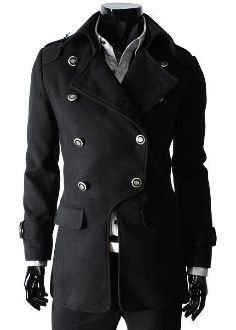 Men's Double Breasted Military style Coat