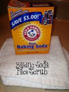 Baking Soda Face Scrub  http://www.stockpilingmoms.com/2013/03/baking-soda-face-scrub/