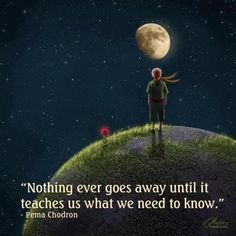 "Love this...""Nothing ever goes away until it has taught us what we need to know.""  ~Pema Chodron"