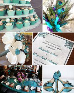peacock themed wedding, peacock feathers, wedding themes, blue, theme idea