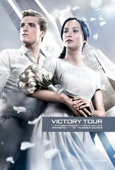 Victory tour poster from Catching Fire. Katniss Everdeen and Peeta Mellark winners of the 74th Hunger Games. So excited for this movie!!!