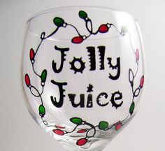 Jolly Juice Painted Wine Glass by Reckcreations on Etsy, $12.00