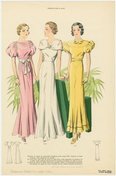 [Women wearing pink, white and yellow formal dresses.]