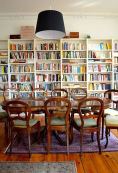 bookshelves in dining room apt therapy