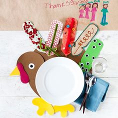 Have your kids help decorate this Thanksgiving! Find more crafting ideas here: http://www.bhg.com/thanksgiving/crafts/easy-thanksgiving-kids-crafts/?socsrc=bhgpin100914turkeygame&page=2
