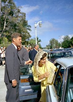 President Kennedy and Jackie leaving church after attending Mass.