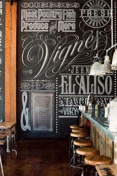 interior, graphic, chalkboard walls, chalk lettering, font, chalkboard art, los angeles, bar food, chalk art