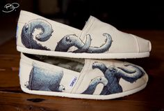 The new trend - hand painted TOMS...These are Octopus Themed Custom TOMS Shoes for $108.00 at Etsy.com