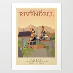 Retro Travel Poster Series - The Lord of the Rings - Rivendell Art Print by Teacuppiranha - $18.00