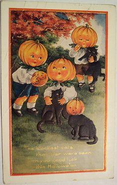 holiday, vintag halloween, vintage halloween, halloween postcard, halloween cards, halloween catscont, creepy vintage cards, halloween vintag, black cat