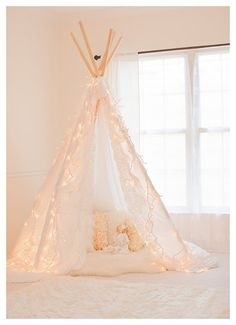 white on white on white and a little twinkle? What's not to love!!    Gorgeous Lace Edge Photography Teepee Tent - Photo Prop - Play Tent - Intro Sale - Shabby Chic