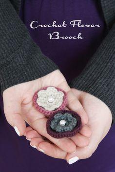 Häkelbrosche DIY Anleitung // Crochet Flower DIY tutorial