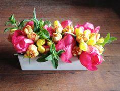 flowerarrang, arrang idea, bouquet, seasons, glori, mint, peoni season, flower arrangement box ideas, pink peonies