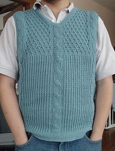 Ravelry: Adventuring Sage Cable Vest pattern by Even Howard