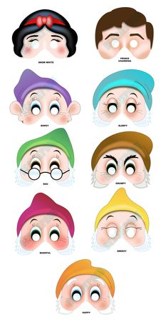 SNOW WHITE Printable MASK Collection. Includes all 9 masks. Photo booth prop. Snow White, Seven Dwarfs, Prince Charming. $12.00, via Etsy.