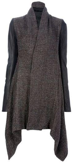 RICK OWENS Tweed Leather Coat