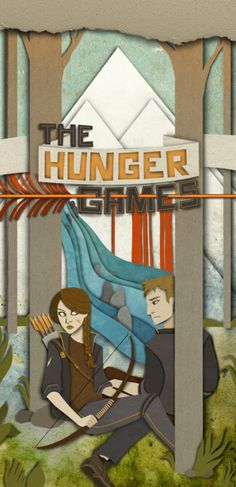 Layered paper depiction of #KatnissEverdeen and #PeetaMellark in #TheHungerGames.