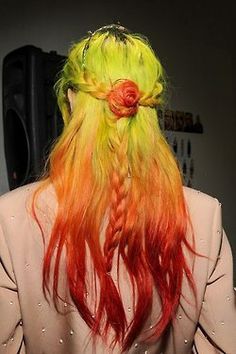 Very cool. Er..more like hot? #yellow & orange #dip-dyed hair