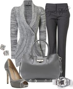 ,have this exact grey sweater, my grey dress pants, my grey heals and my grey purse, have it