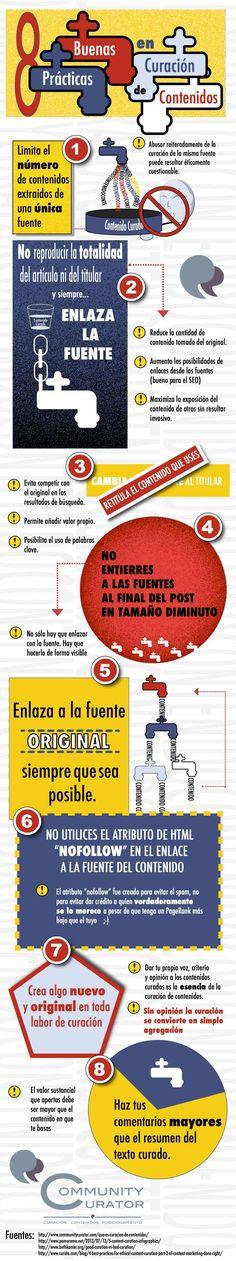8 buenas prácticas en curación de contenidos #infografia #infographic #marketing