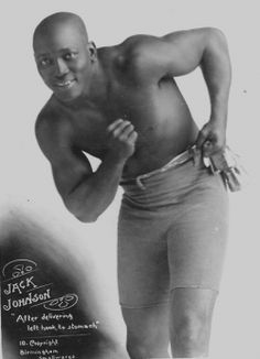 """Arthur John Johnson (March 31, 1878 - June 10, 1946), better known as Jack Johnson and nicknamed the """"Galveston Giant"""", was an American boxer and arguably the best heavyweight of his generation. He was the first black Heavyweight Champion of the World (1908-1915)."""