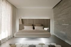 Wow Suspension:: BEDROOMS :: DETAILS :: Photo Credit Source: © Vincent Leroux / tempsmachine, Chalet Beranger / Noé Duchaufour-Lawrance. Lovely colour palette of warm gray with white and accent of wood. #details #bedrooms