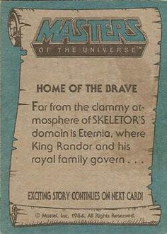 Masters of the Universe trading card #7 back