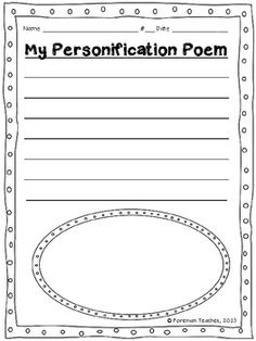 This product includes a student planning guide for writing their own personification poem and a publishing paper.