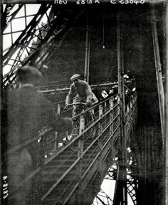 Cycling down the Eiffel Tower, 1923