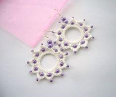 Crochet Earrings Beaded Earrings Cotton by CraftsbySigita
