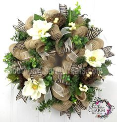 Deco Mesh Burlap Spring Door Wreath Magnolias Nests Eggs Zebra Print Wedding Decor by www.southerncharmwreaths.com SOLD #burlap #spring #wreath #wedding