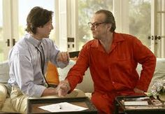 Dr.Julian Mercer (Keanu Reeve) with a red pj'd Harry Sanborn (Jack Nicholson) ~