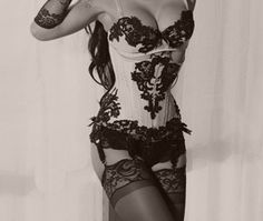 Vintage #corset, bra and lace - love that garter belt!