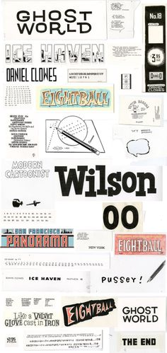 Hand lettering by Daniel Clowes