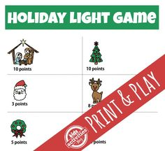 Holiday Light Game: Print and Play | Kids Activities Blog