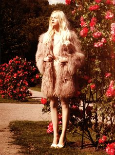 pink roses, fashion, dusty pink, gardens, fur, flower power, blush, coats, ginta lapina