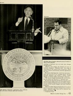 """Spectrum Green yearbook, 1983. """"Ronald Dellums, Democratic congressman from California, spoke on the issues of human rights and world peace."""" :: Ohio University"""