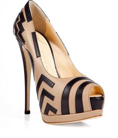 Giuseppe Zanotti - Amp up any ensemble with these ultra-chic patterned pumps. Peep-toe style, contrasting leather detailing, front platform with solid black Super high heel. Style with a pencil-cut sheath dress, fishnets, and a draped leather jacket.