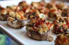 easter dinner, stuf mushroom, small bites, mushroom recipes, appetizer recipes, bell peppers, stuffed mushrooms, new years eve, mediterranean stuf
