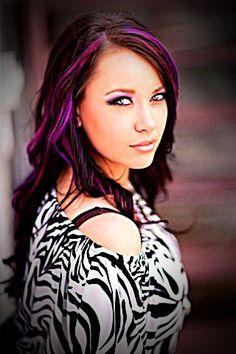 color highlight, hair style colored streaks, fuchsia highlight