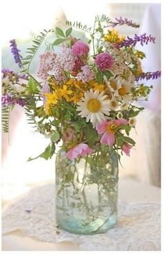 I would much rather have wildflowers in a mason jar than an expensive arrangement from a flower store. Wildflowers make me think of the handfuls of flowers the kids got me when they were little.