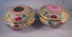 """Matching Antique Nippon Hair Receiver & Dresser Box w/Pink Trim """"Maple Leaf"""" #52 eye"""