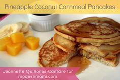 Pineapple Coconut Cornmeal Pancakes Recipe, great for a Father's Day breakfast!