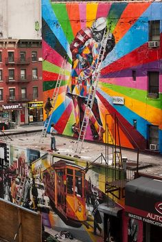 a kiss, city art, colors, graffiti, street art, murals, morning coffee, kisses, streetart