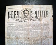Rare Abraham Lincoln Presidential Campaign THE RAIL  SPLITTER, October 3, 1860 Newspaper of Cincinnati, Ohio.  *s