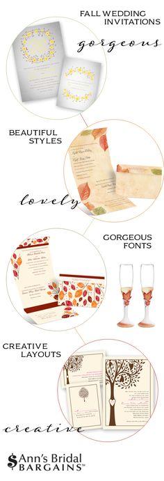 Fall Wedding Invitations: Ann's Bridal Bargains http://www.theperfectpalette.com/2014/06/fall-wedding-invitations-anns-bridal.html