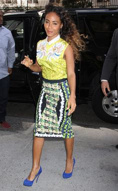 Jada Pinkett Smith in a Peter Pilotto's mixed print ensemble and bright blue pumps.