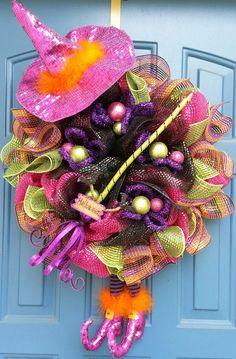Halloween deco mesh wreath Halloween wreath by WonderfulWreathsKim, $60.00
